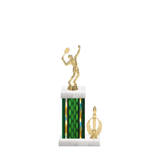 "13"" Tennis Trophy with Tennis Figurine, 5"" colored column, side trim and marble base."