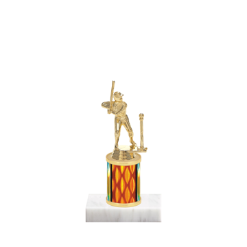 "7"" T-Ball Trophy with T-Ball Figurine, 2"" colored column and marble base."