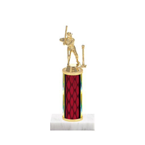"9"" T-Ball Trophy with T-Ball Figurine, 4"" colored column and marble base."