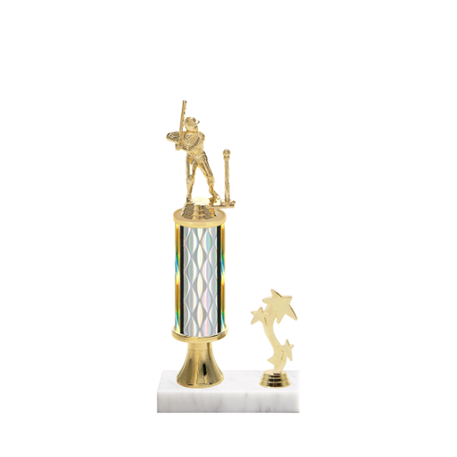 """12"""" T-Ball Trophy with T-Ball Figurine, 4"""" colored column, gold riser, side trim and marble base."""