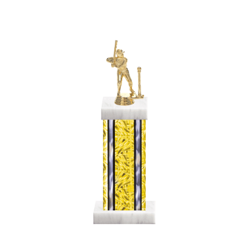 "13"" T-Ball Trophy with T-Ball Figurine, 6"" colored column and marble base."