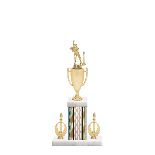 "16"" T-Ball Trophy with T-Ball Figurine, 5"" colored column, double side trim and marble base."