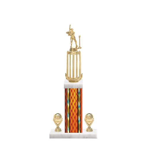"18"" T-Ball Trophy with T-Ball Figurine, 7"" colored column, double side trim and marble base."