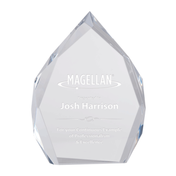 Ophelia Acrylic Award with Hand Carved Faceted Pinnacle Shape