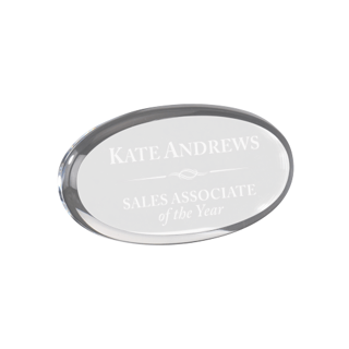 "Clear oval shaped acrylic paperweight shown 4"" size"