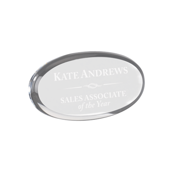 """Clear oval shaped acrylic paperweight shown 4"""" size"""