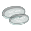 Jade oval shaped acrylic paperweight shown with two sizes
