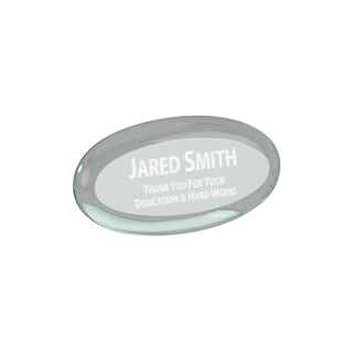 "Jade oval shaped acrylic paperweight shown 4"" size"