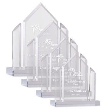 Alpha Acrylic Award with Clear Acrylic Side Posts | 4 Sizes Available