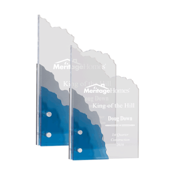 Pines Acrylic Award with blue and grey lucite shown with two sizes