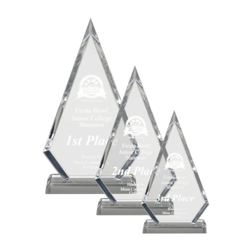 Arrowhead Acrylic Award with hand polished facets two sizes shown