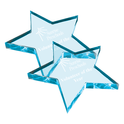 Star shaped acrylic paperweight with translucent blue tint