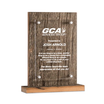 Barnwood Acrylic Award featuring aged barn wood and aluminum offsets