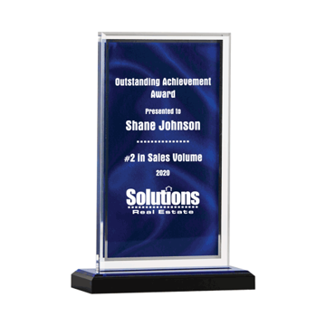 Blue Drape Acrylic Award with screen printed blue drape background 7""