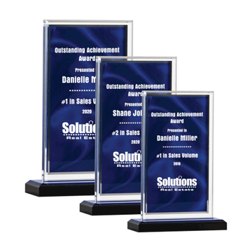 Blue Drape Acrylic Award with screen printed blue drape background three sizes shown