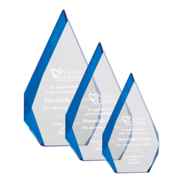 Blue Flame Acrylic Award with blue tinted facets shown with three sizes