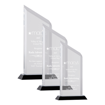 Carrington Acrylic Award with black base and crystal clear upright shown with three sizes