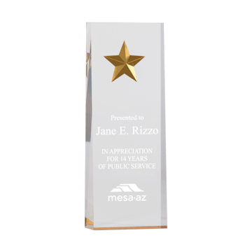 Gold Constellation Acrylic Award with reverse routed gold star