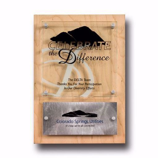 Almit Acrylic Award Plaque with maple, clear acrylic and aluminum accents