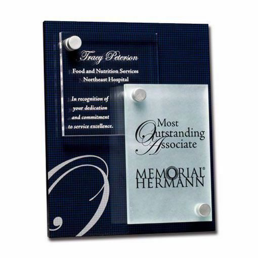 Berkshire Acrylic Award Plaque with black Lucite, clear acrylic, frost acrylic and aluminum accents