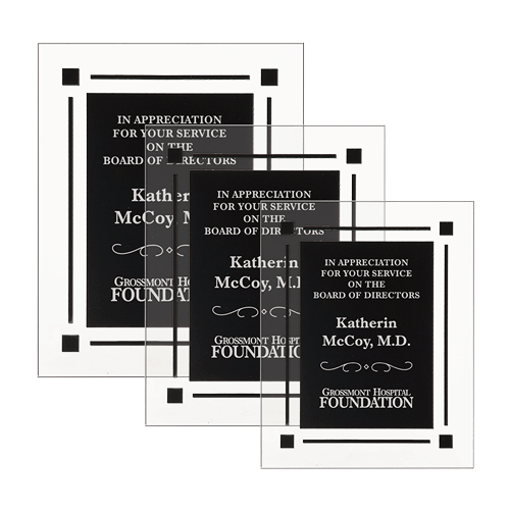 Black Floating Acrylic Award Plaque with clear acrylic and black engraving area shown three sizes