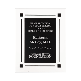 "Black Floating Acrylic Award Plaque with clear acrylic and black engraving area 9"" x 11"""