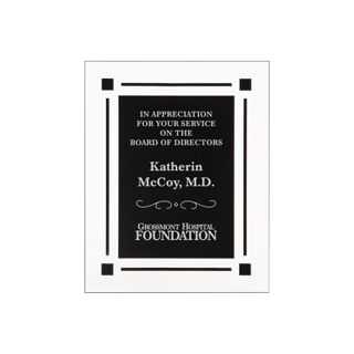 "Black Floating Acrylic Award Plaque with clear acrylic and black engraving area 8"" x 10"""