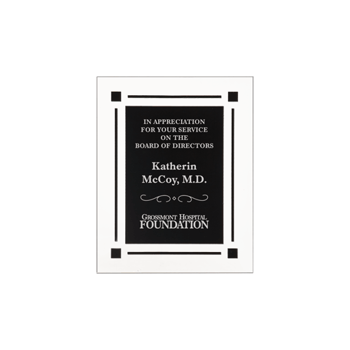 "Black Floating Acrylic Award Plaque with clear acrylic and black engraving area 7"" x 9"""