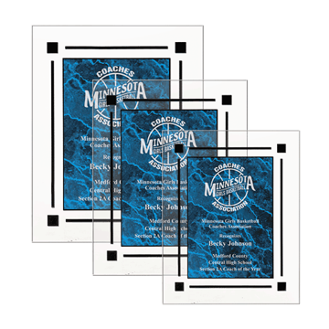 Blue Marble Floating Acrylic Award Plaque with clear acrylic and blue marbleized engraving area shown three sizes