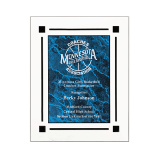 "Blue Marble Floating Acrylic Award Plaque with clear acrylic and blue marbleized engraving area 9"" x 11"""