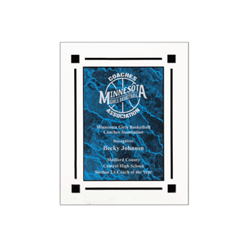 """Blue Marble Floating Acrylic Award Plaque with clear acrylic and blue marbleized engraving area 8"""" x 10"""""""