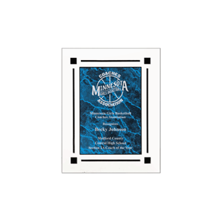 "Blue Marble Floating Acrylic Award Plaque with clear acrylic and blue marbleized engraving area 7"" x 9"""