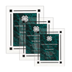 Green Marble Floating Acrylic Award Plaque with clear acrylic and green marbleized engraving area shown three sizes