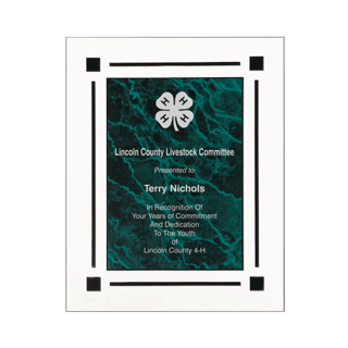 """Green Marble Floating Acrylic Award Plaque with clear acrylic and green marbleized engraving area 9"""" x 11"""""""