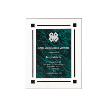 """Green Marble Floating Acrylic Award Plaque with clear acrylic and green marbleized engraving area 8"""" x 10"""""""