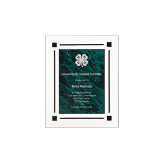 """Green Marble Floating Acrylic Award Plaque with clear acrylic and green marbleized engraving area 7"""" x 9"""""""