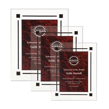 Red Marble Floating Acrylic Award Plaque with clear acrylic and red marbleized engraving area shown three sizes