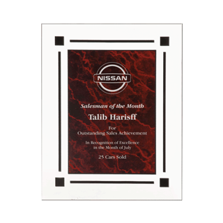 "Red Marble Floating Acrylic Award Plaque with clear acrylic and red marbleized engraving area 9"" x 11"""