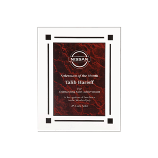 "Red Marble Floating Acrylic Award Plaque with clear acrylic and red marbleized engraving area 8"" x 10"""