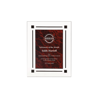 "Red Marble Floating Acrylic Award Plaque with clear acrylic and red marbleized engraving area 7"" x 9"""