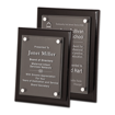 Black Piano Finish Acrylic Award Plaque with clear acrylic and aluminum hardware shown two sizes