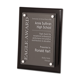 "Black Piano Finish Acrylic Award Plaque with clear acrylic and aluminum hardware 9"" x 12"""