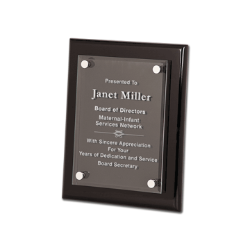 "Black Piano Finish Acrylic Award Plaque with clear acrylic and aluminum hardware 8"" x 10"""