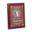 Rosewood Piano Finish Acrylic Award Plaque with clear acrylic and aluminum hardware