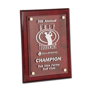 "Rosewood Piano Finish Acrylic Award Plaque with clear acrylic and aluminum hardware 9"" x 12"""