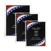 Stars & Stripes Acrylic Award Plaque with clear beveled acrylic and American flag theme shown three sizes