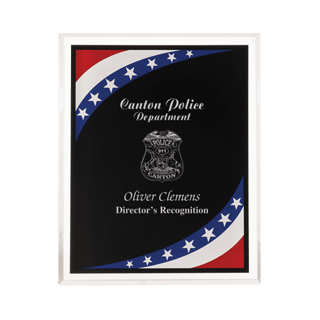 "Stars & Stripes Acrylic Award Plaque with clear beveled acrylic and American flag theme 9"" x 11"""