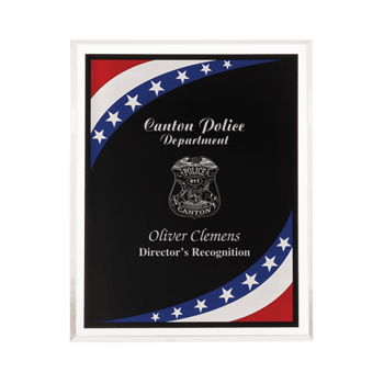 """Stars & Stripes Acrylic Award Plaque with clear beveled acrylic and American flag theme 9"""" x 11"""""""