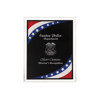"Stars & Stripes Acrylic Award Plaque with clear beveled acrylic and American flag theme 8"" x 10"""