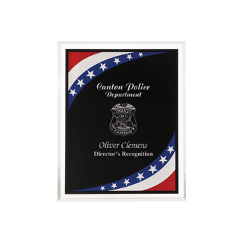 """Stars & Stripes Acrylic Award Plaque with clear beveled acrylic and American flag theme 8"""" x 10"""""""